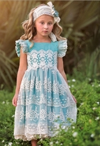 Frilly Frocks Blue & Ivory lace Girls Nora Dress Easter  Pre-Order