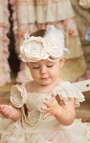 Frilly Frocks Filomena Ivory & Blush Feather & Pearls Inafnt/Toddler Headband