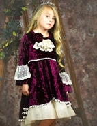 Frilly Frocks Victoria Velvet Girls Dress w/Ivory Lace 7 Last 1