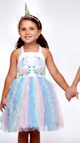 Halabaloo Beautiful Pastel Tulle  Father Daughter Dance Easter Girls Dress w/Unicorns