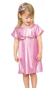 Halabaloo Pink Sequined Girls Holiday Dress  2T