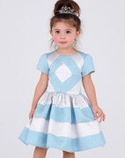 Halabaloo Blue Ice Diamond Color Block Frozen Party Dress 2T