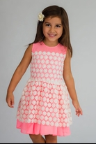 Halabaloo Pink & Ivory  Crochet Overlay Girls Dress  6
