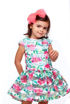 Halabaloo Rose Print Darling Drop Waist Girls Dress *Top Seller*