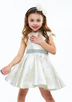 Halabaloo White Gold Sparkly Belted Girls Dress 4 7 8 10