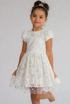 Halabaloo Beige, White & Silver Lace Overlay Girls Dress 12m 24m