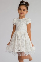 Halabaloo Beige, White & Silver Lace Easter Girls Dress 12m