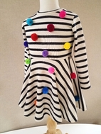 Halabaloo Striped Super Fun Girls Dress w/Colorful Poms