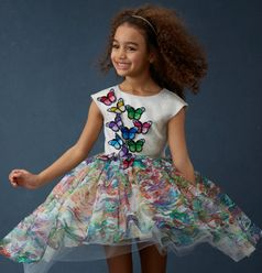 Halabaloo Rainbow Butterfly Hi Lo Girls Dress 4T 4 5