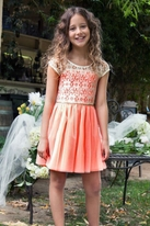 Hannah Banana Coral & Ivory Lace Tween Dress  14