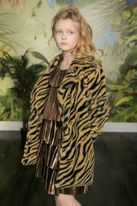 Hannah Banana Animal Print Teddy Faux Fur Coat 7 10  16