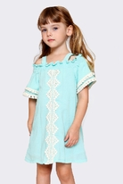 Hannah Banana Aqua Lace Off Shoulder Girls Dress 8
