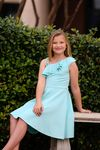 Hannah Banana Aqua Ruffle Shoulder Tween Dress 14 16