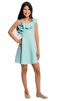 Hannah Banana Aqua Ruffle Shoulder Tween Easter Dress