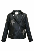Hannah Banana Black Faux leather Jacket w/Stars  14