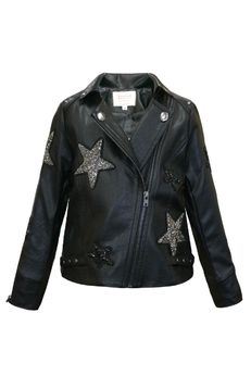 Hannah Banana Black Faux leather Jacket w/Stars  14 Last 1