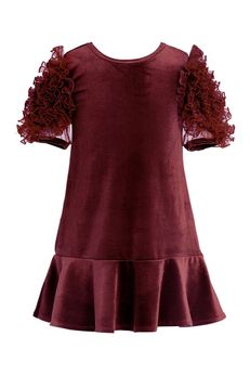 Hannah Banana Burgundy Girls Dress w/Ruffle Sleeves
