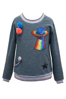 Hannah Banana Charcoal Girls Sweater Top w/Planets 4 8