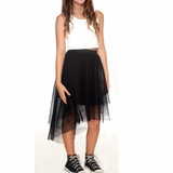50318e102fe Hannah Banana Fashionable 2pc White Cropped Top   Black Hi-Lo Skirt 14