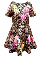 Hannah Banana Fit and Flare Leopard Dress W/Roses 6 7 8 14