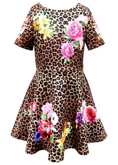 Hannah Banana Fit and Flare Leopard Dress W/Roses *Top Seller*