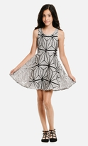 Hannah Banana Geometric Clusters Fit-n-Flare Dress 10 16