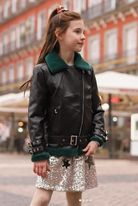 Hannah Banana Girls Leather Faux Fur Aviator Jacket 8 12 14
