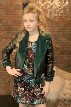Hannah Banana Girls Leather Faux Fur Aviator Jacket