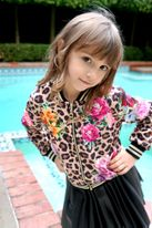 Hannah Banana Girls Leopard & Roses Bomber Jacket *Top Seller*