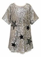 Hannah Banana Silver Sequin Stars Girls Dress *Top Seller* 5 6x 14