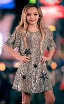 Hannah Banana Silver Sequin Stars Girls Dress *Top Seller* 6x 14