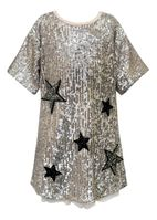 Hannah Banana Silver Sequin Stars Girls Dress
