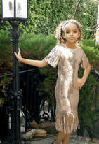 Hannah Banana Rose Gold Flapper Sequin Tween Girls Dress