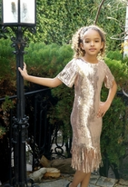Hannah Banana Rose Gold Flapper Sequin Tween Girls Dress *Restocked**