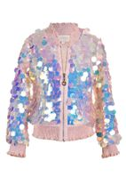Hannah Banana Holographic Sequin Girls Bomber Jacket
