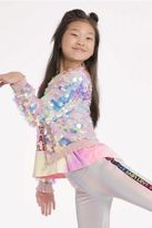 Hannah Banana Holographic Sequin Girls Bomber Jacket 5 12 14