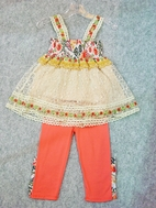 "Hannah Banana ""Lacey hugs"" Adorable 2pc Tunic & capris sz 7"