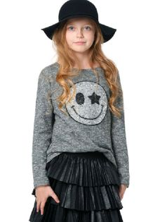 Hannah Banana Long Sleeves Cozy Knit Sweater Top w/Smiley
