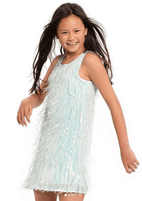 Hannah Banana Mint Sparkly Sequin Fringe Girls Dress 8 10