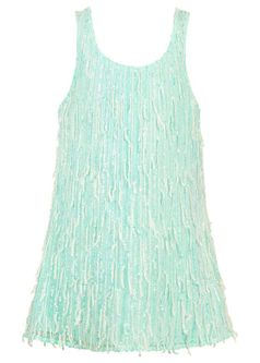 Hannah Banana Mint Sparkly Sequin Fringe Girls Spring Dress