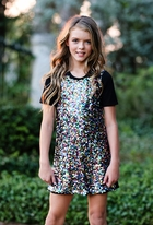 Hannah Banana Multi Sequin Sparkly Girls Dress 7 8 12