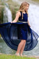 Hannah Banana Navy Chiffon & Sequins Hi Lo Tween Dress