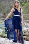 Hannah Banana Navy Chiffon & Sequins Hi Lo Prom Graduation  Dress