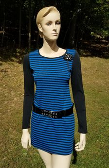 Hannah Banana Navy Striped Tween Girls Dress w/Belt  8 14