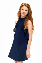 Hannah Banana Navy Tween Dress w/Laser Cut Ruffle 16