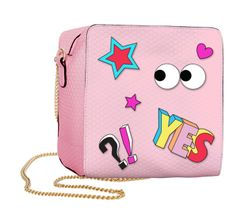 Hannah Banana Pink Honeycomb Bag w/Cartoon Patches Last 1