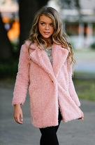 Hannah Banana Dusty Pink Sherpa Long Teddy Bear Coat 5  12