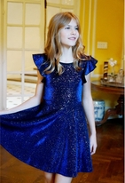 Hannah Banana  Blue Sparkly Fit and Flare Tween Girls Dress