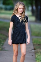Hannah Banana Sparkly Black Girls Romper 7 8 14