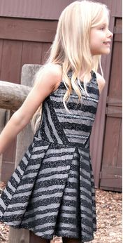 Hannah Banana Striped Lace Sparkle Fit-N-Flare Tween Dress 7 Last 1